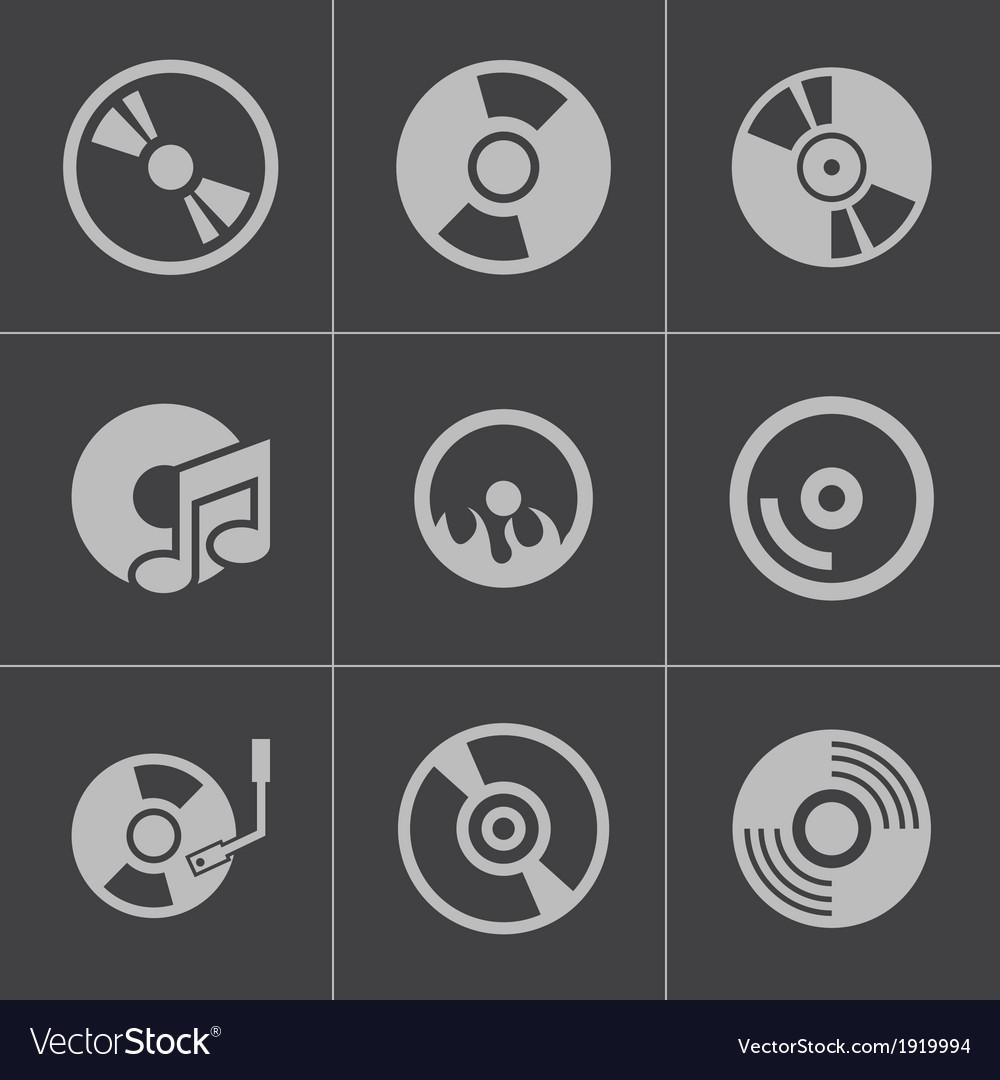 Black cd disk icons set vector | Price: 1 Credit (USD $1)