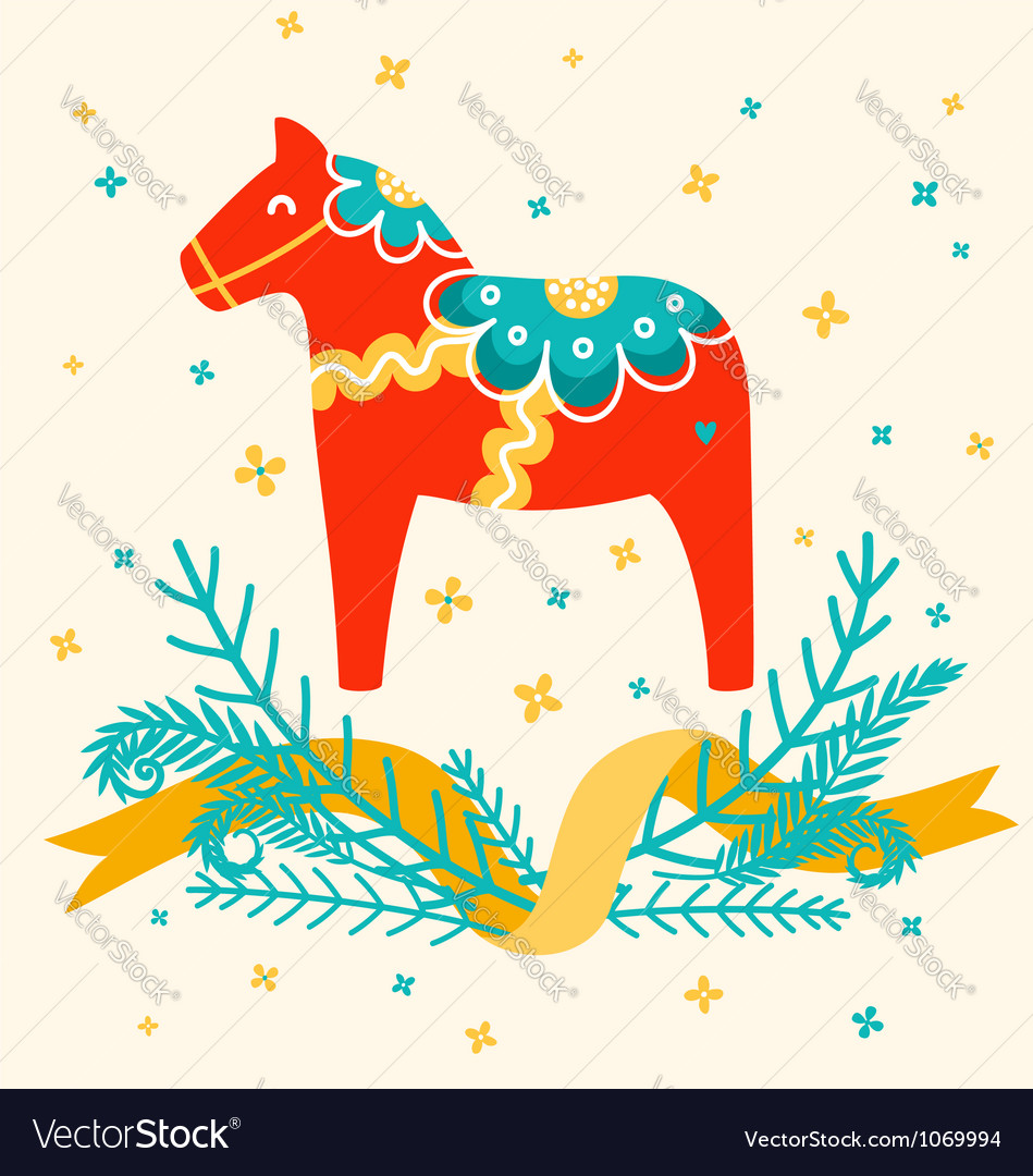 Dala horse vector | Price: 1 Credit (USD $1)
