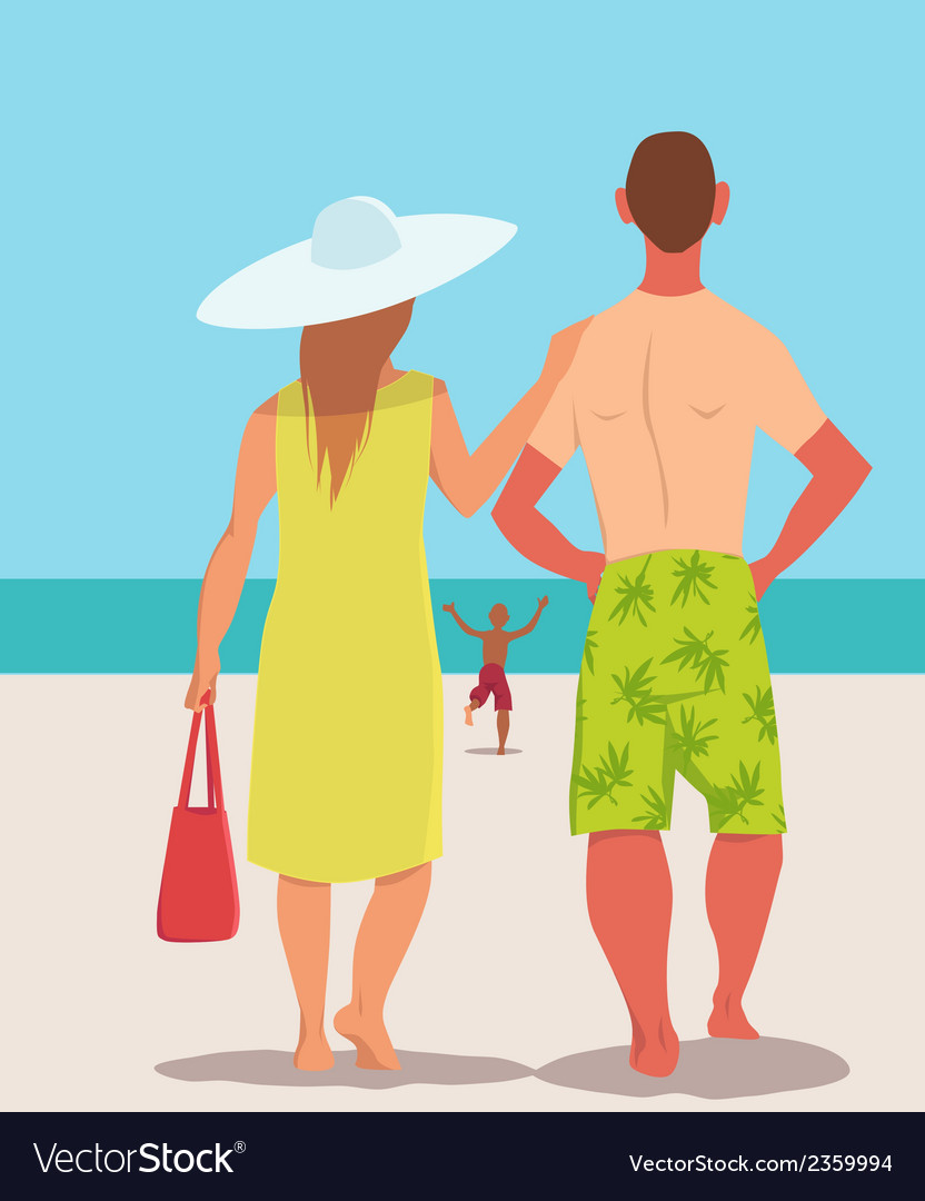 Family vacation on the beach vector | Price: 1 Credit (USD $1)