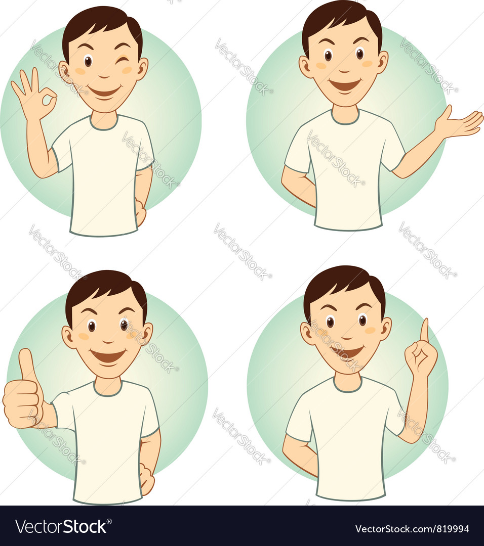 Gesturing cartoon man set vector | Price: 3 Credit (USD $3)