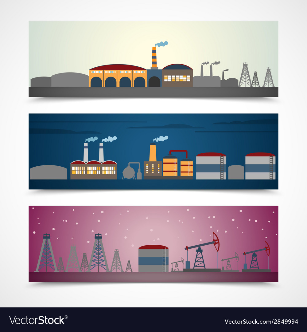 Industrial city banners set vector | Price: 1 Credit (USD $1)