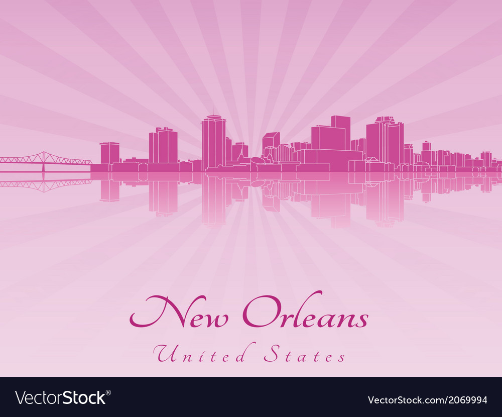 New orleans skyline in purple radiant orchid vector | Price: 1 Credit (USD $1)