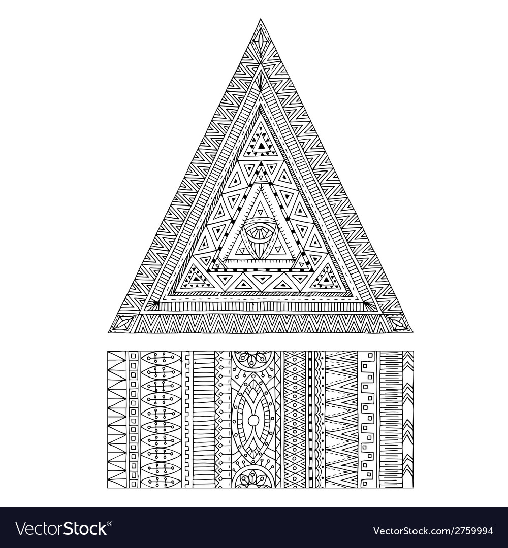Original drawing tribal triangle and banner vector | Price: 1 Credit (USD $1)