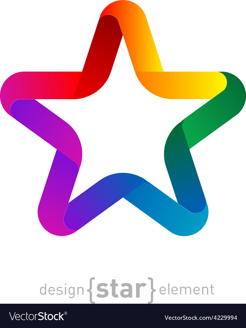 Rainbow star from ribbon on white background vector | Price: 1 Credit (USD $1)
