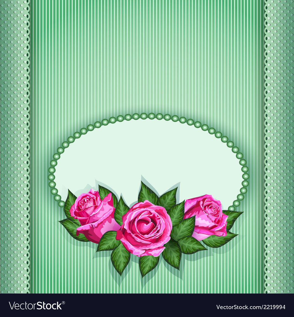 Roses postcard green vector | Price: 1 Credit (USD $1)