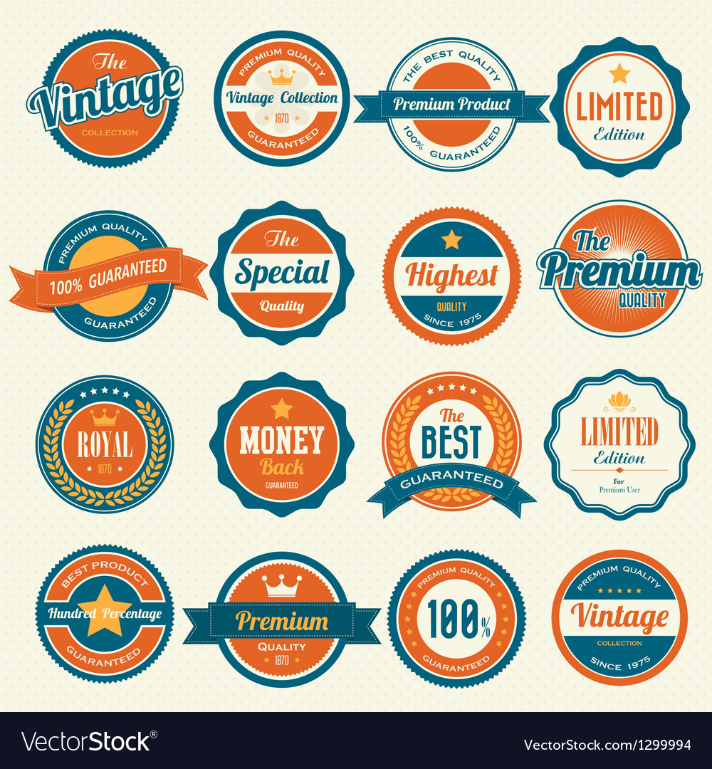 Set of retro vintage badges and labels eps10 vector | Price: 3 Credit (USD $3)