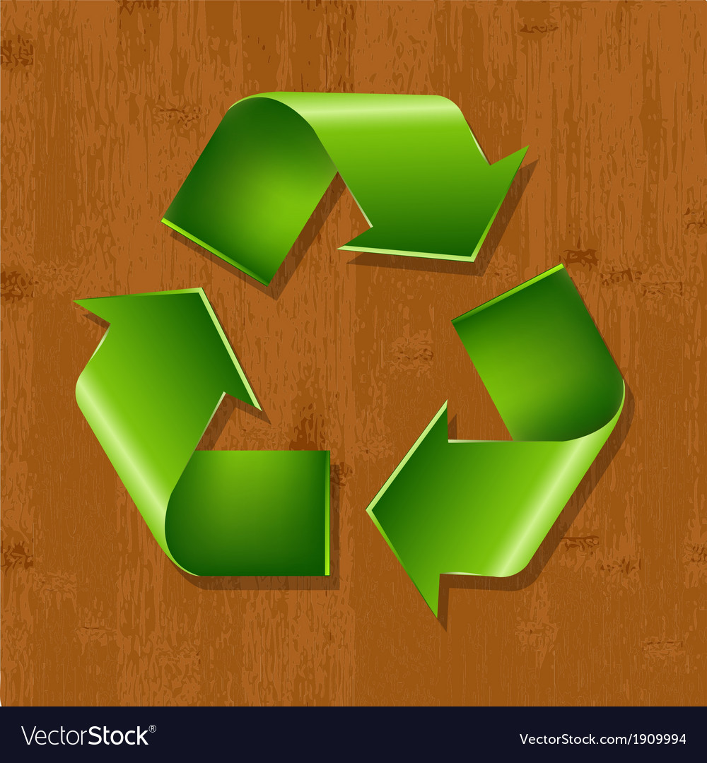 Wood background with recycle symbol vector | Price: 1 Credit (USD $1)
