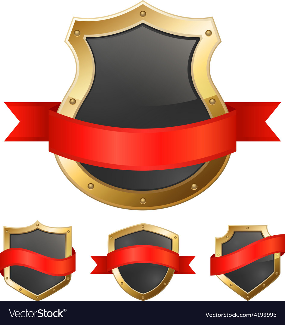 Black golden frame shields with ribbon vector | Price: 1 Credit (USD $1)