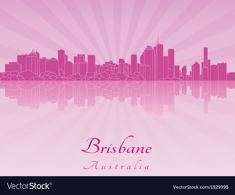 Brisbane skyline in purple radiant orchid vector | Price: 1 Credit (USD $1)
