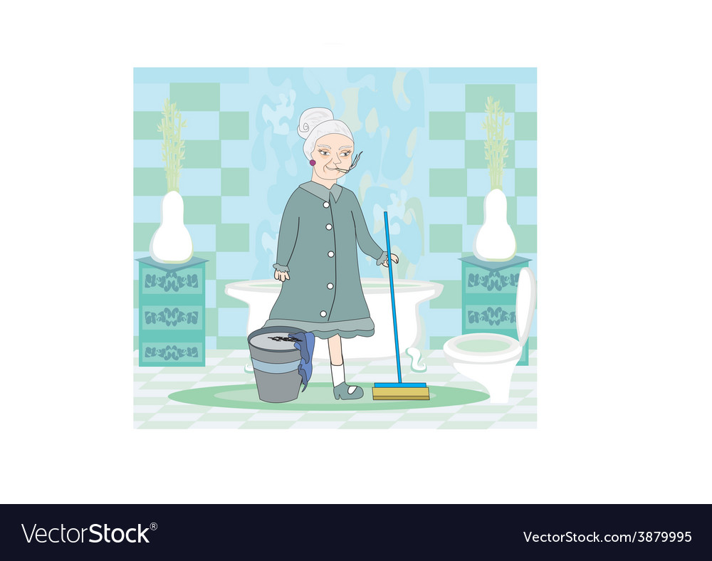 Cartoon character housemaid with mop vector | Price: 1 Credit (USD $1)