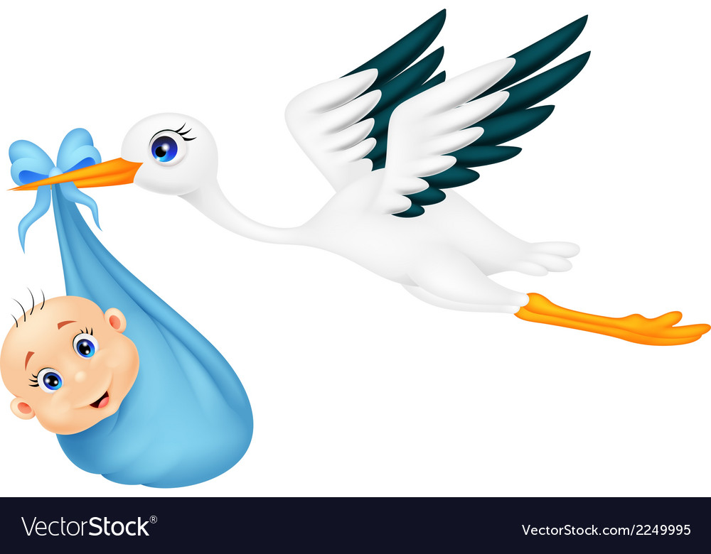 Cartoon stork with baby vector | Price: 1 Credit (USD $1)