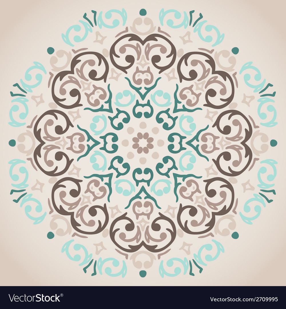 Circular turquoise and beige ornament vector | Price: 1 Credit (USD $1)