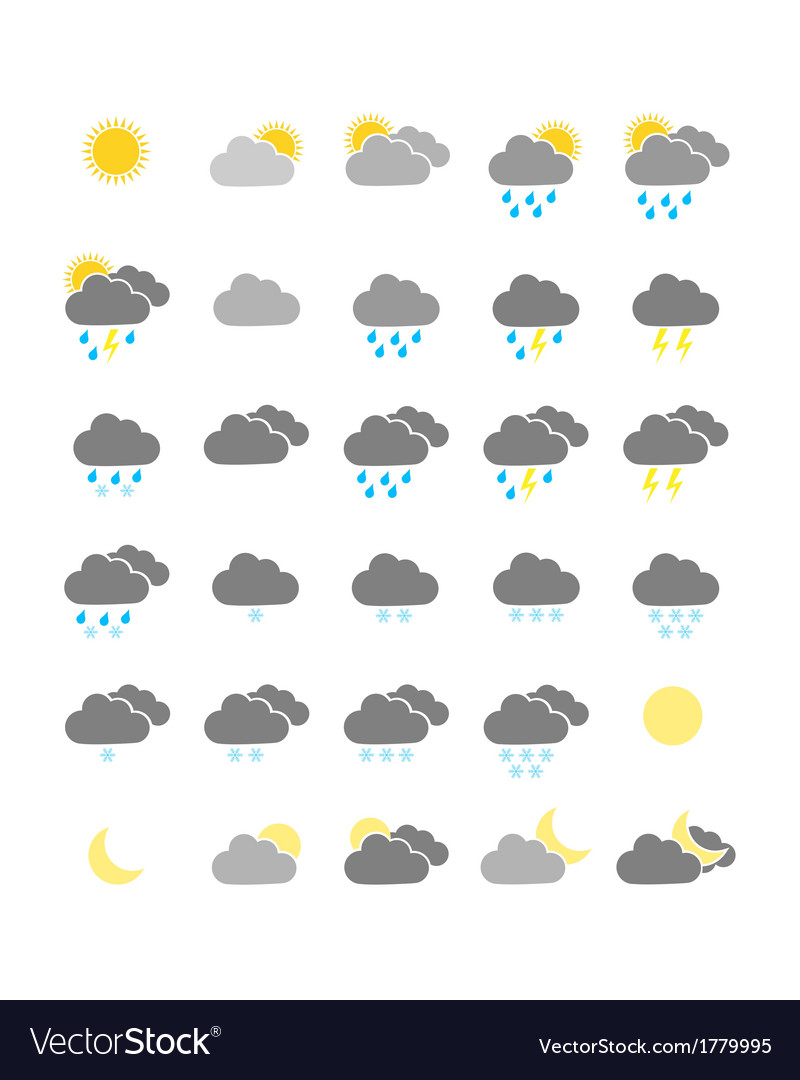 Colorful weather icons vector | Price: 1 Credit (USD $1)