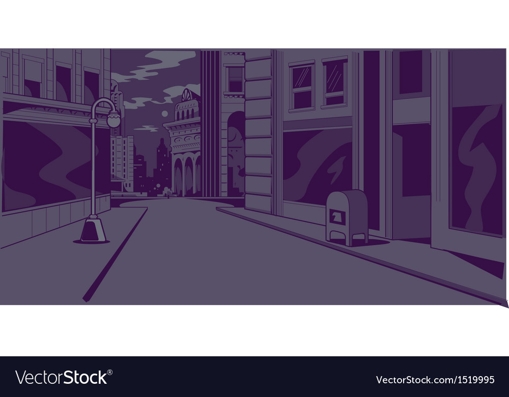Comics night city street scene vector | Price: 3 Credit (USD $3)