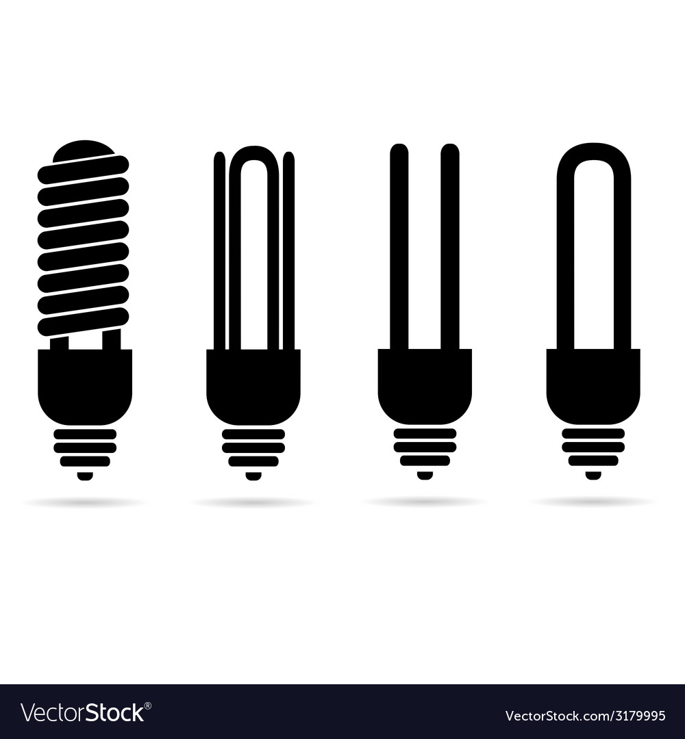 Ecology ligh bulb black silhouette vector | Price: 1 Credit (USD $1)