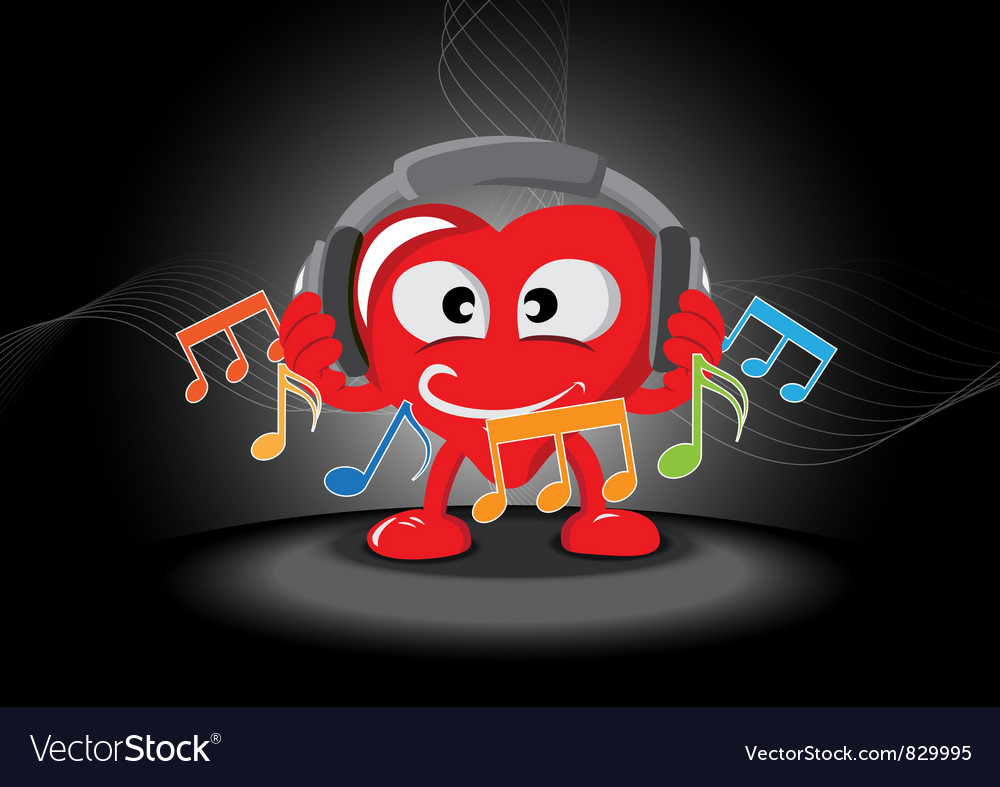 Funny heart listening music vector | Price: 1 Credit (USD $1)