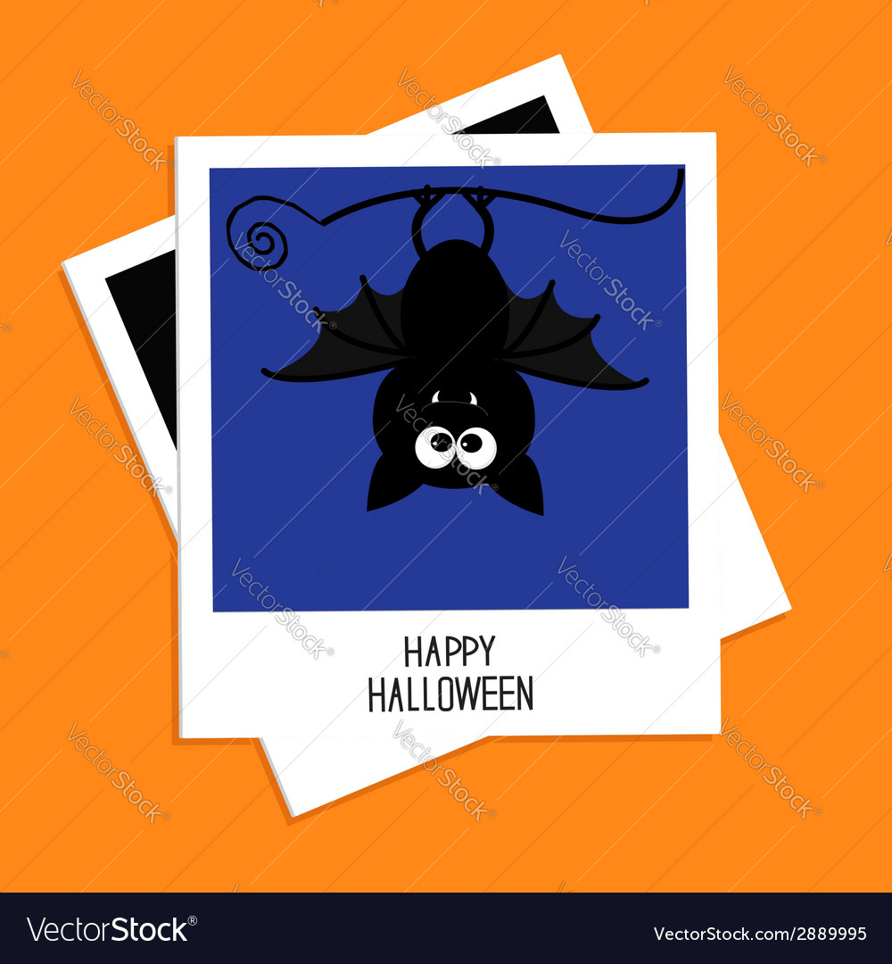 Instant photo with bat on blue back halloween vector | Price: 1 Credit (USD $1)