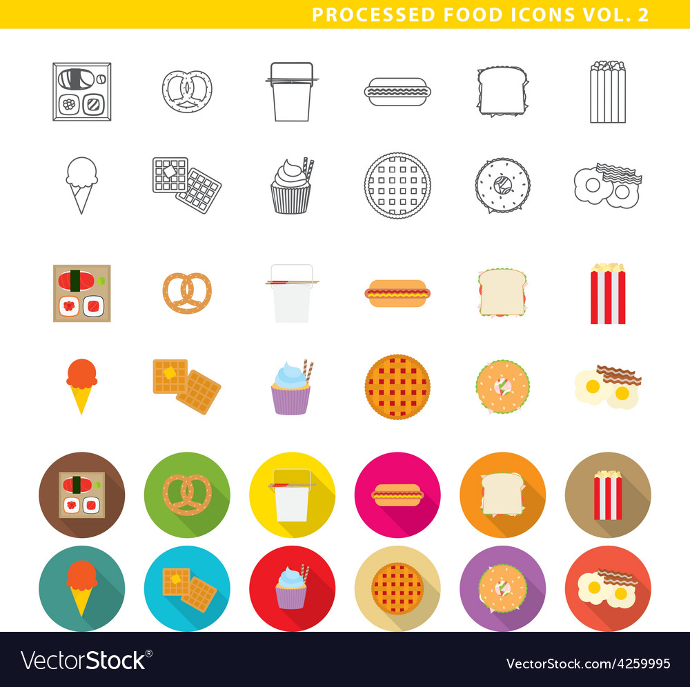Processed food icons 002 vector | Price: 1 Credit (USD $1)