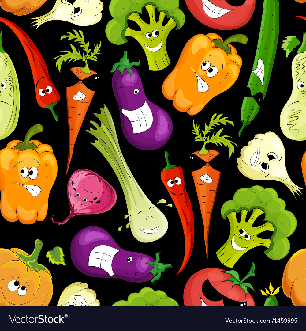 Seamless pattern funny vegetable vector | Price: 1 Credit (USD $1)