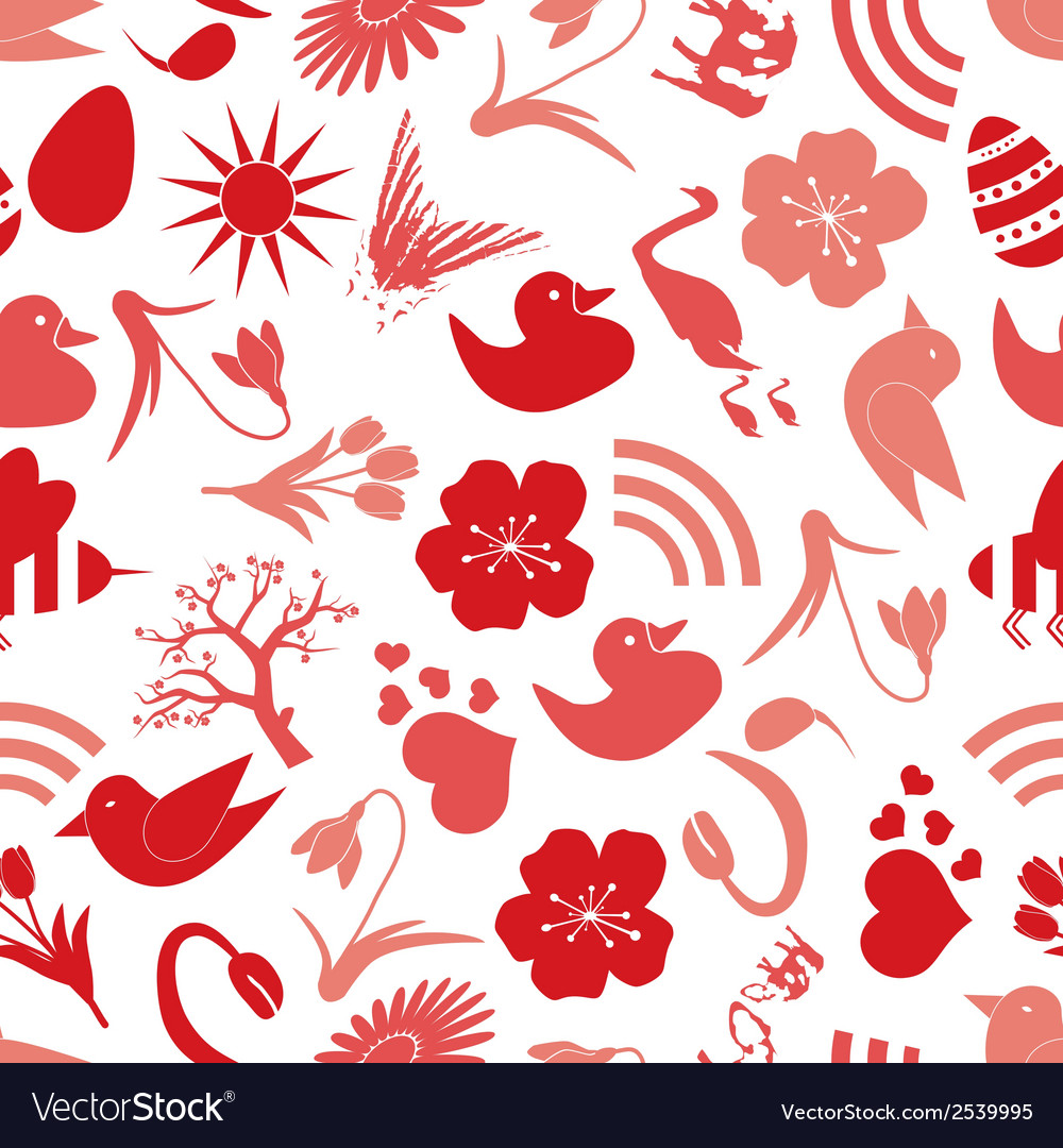 Spring icons seamless pattern eps10 vector | Price: 1 Credit (USD $1)