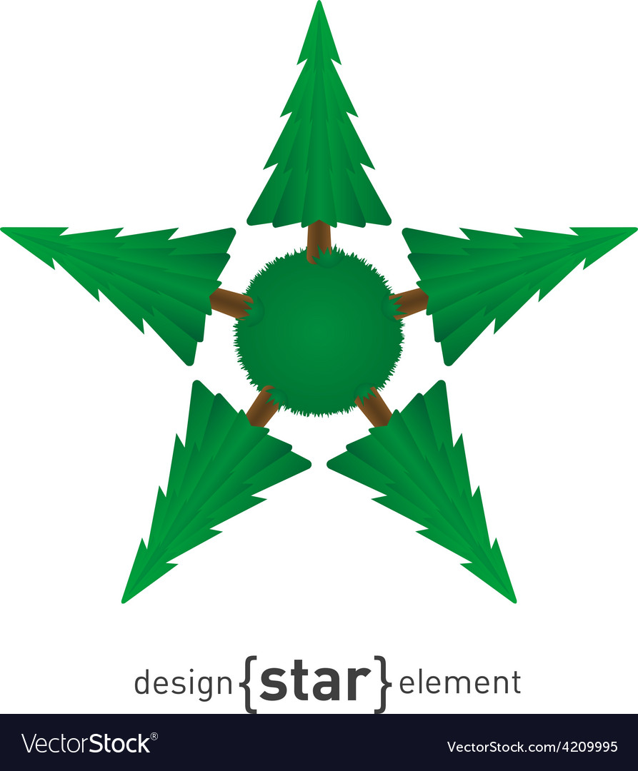 Star with green pine vector | Price: 1 Credit (USD $1)