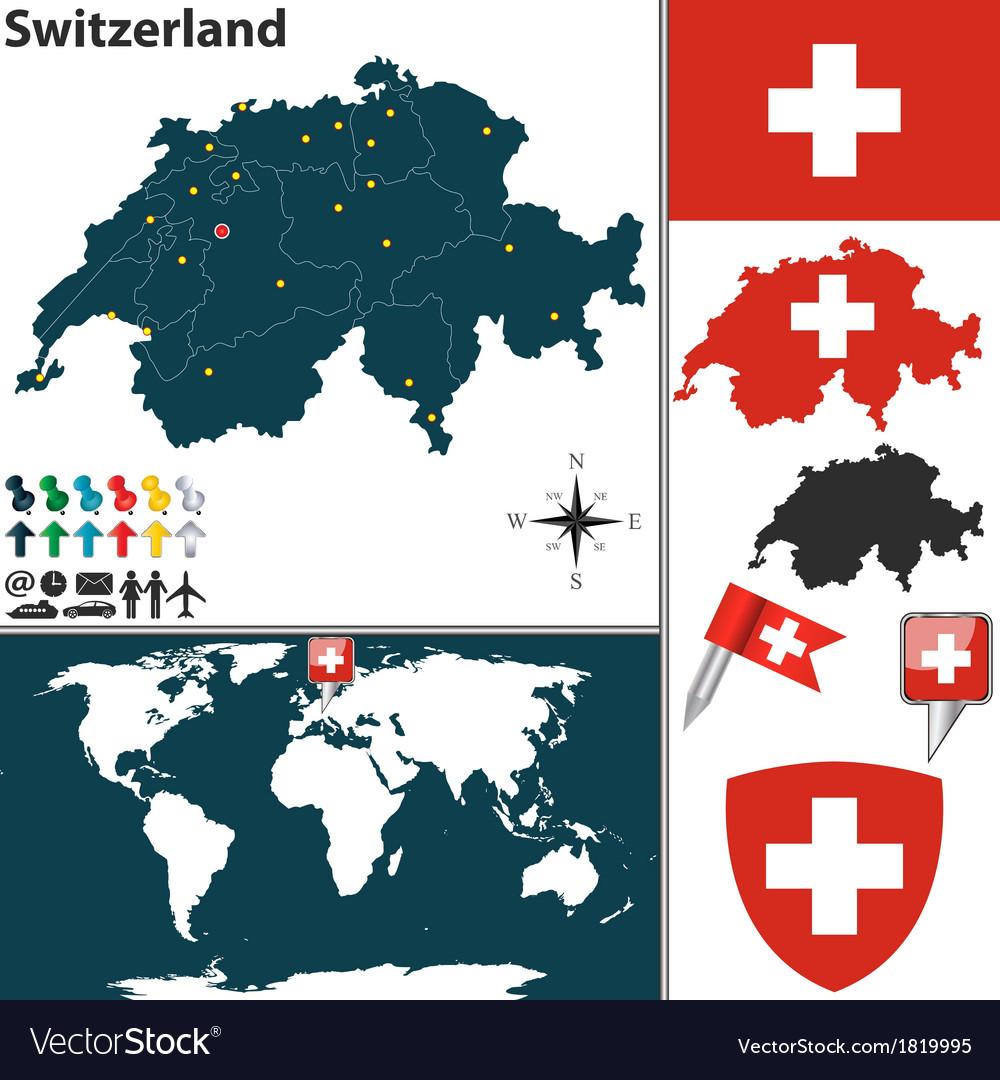 Switzerland map world vector | Price: 1 Credit (USD $1)