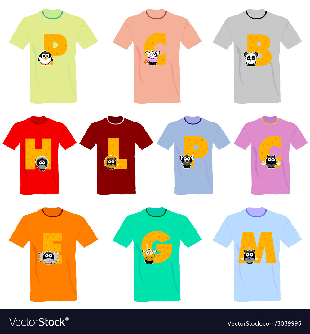 T-shirts with pictures of animals and words on it vector | Price: 1 Credit (USD $1)