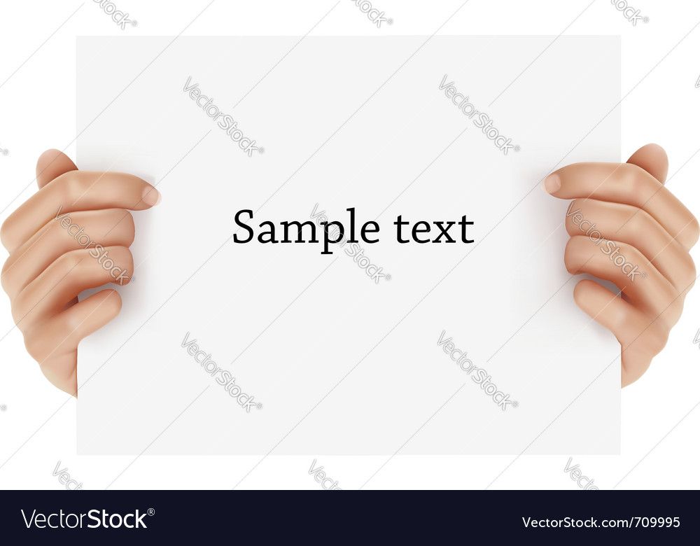 Two hands holding sign vector | Price: 3 Credit (USD $3)