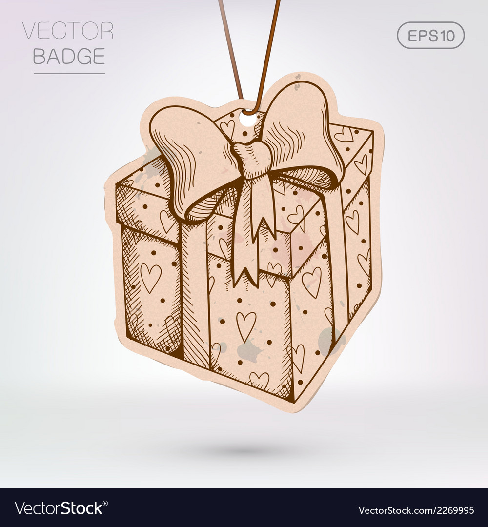 Vintage styled label present surprise box vector | Price: 1 Credit (USD $1)