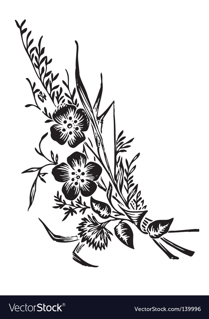Antique flowers corner engraving vector | Price: 1 Credit (USD $1)
