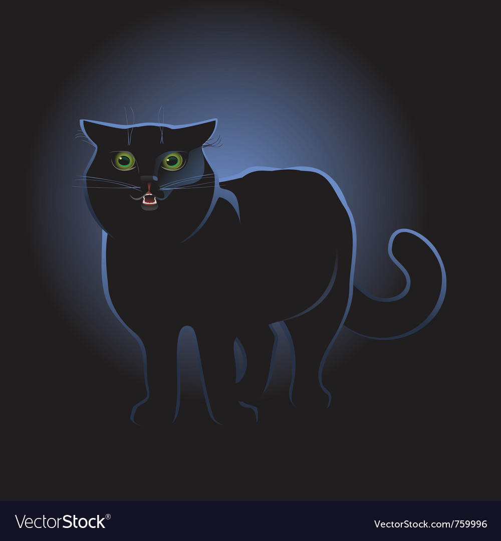 Black cat on black background vector | Price: 1 Credit (USD $1)