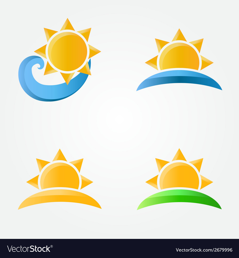 Bright sun icons with sea sand and grass vector | Price: 1 Credit (USD $1)