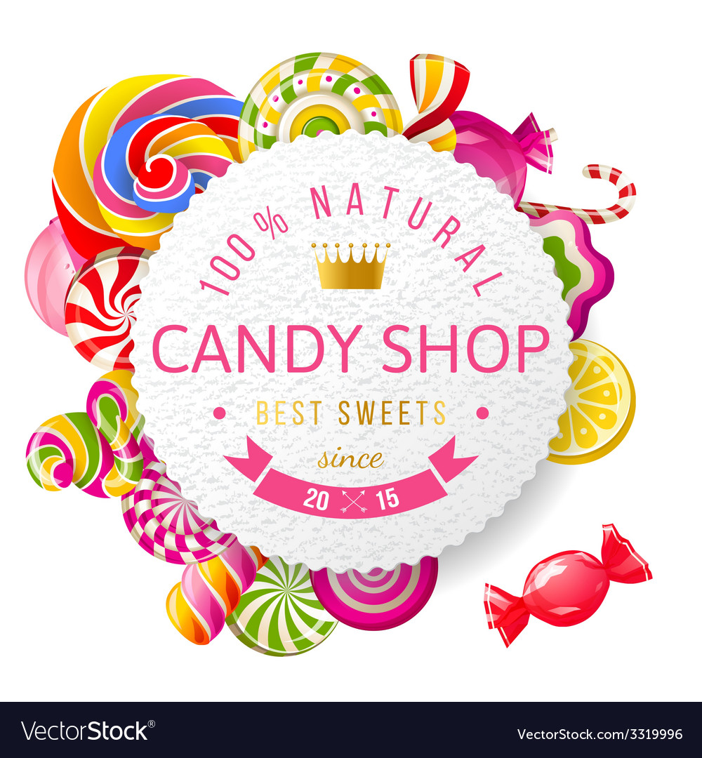 Candy shop label with type design vector | Price: 3 Credit (USD $3)