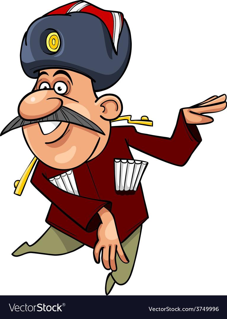 Cartoon caucasian man with a mustache dancing vector   Price: 1 Credit (USD $1)