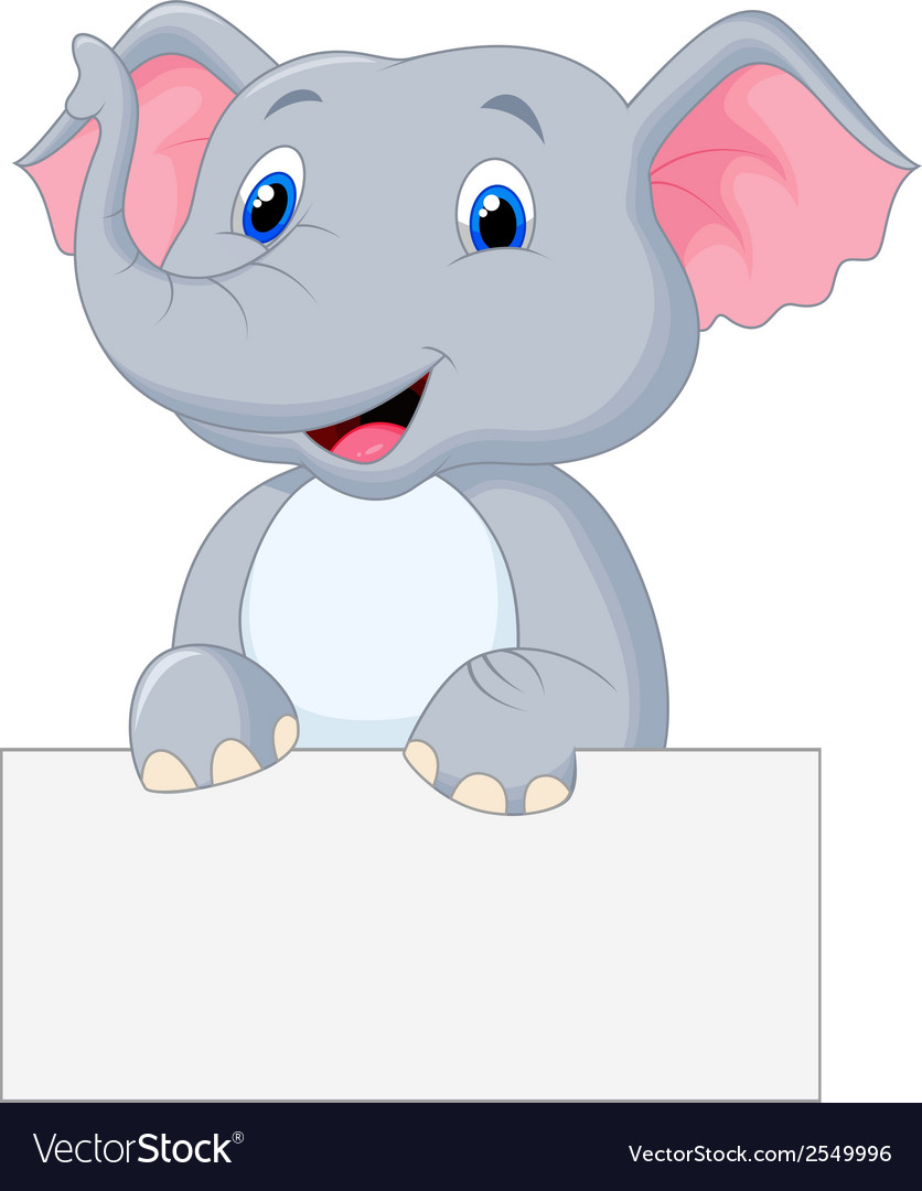 Cute elephant cartoon holding blank sign vector | Price: 1 Credit (USD $1)