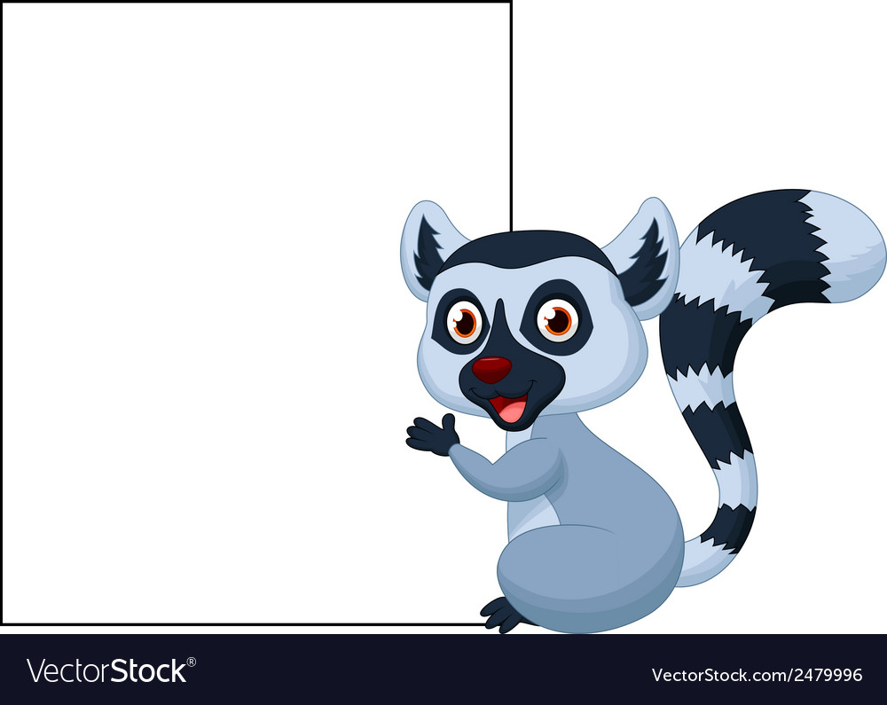 Cute lemur cartoon holding blank sign vector | Price: 1 Credit (USD $1)