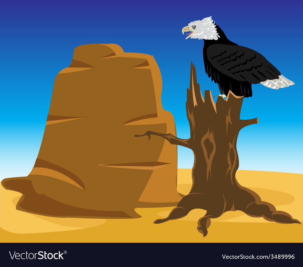Desert and eagle on tree vector | Price: 1 Credit (USD $1)