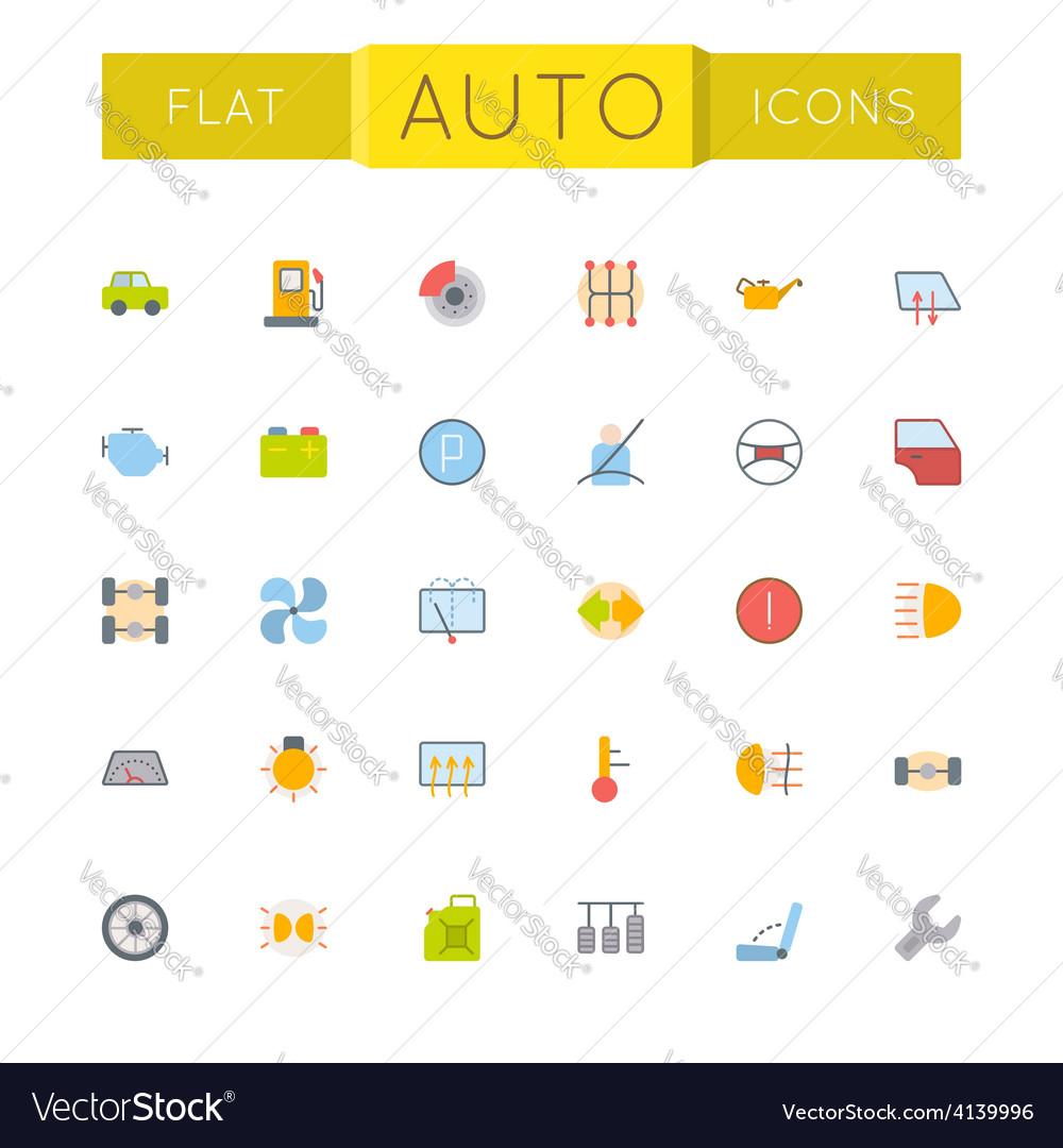 Flat auto icons vector | Price: 1 Credit (USD $1)
