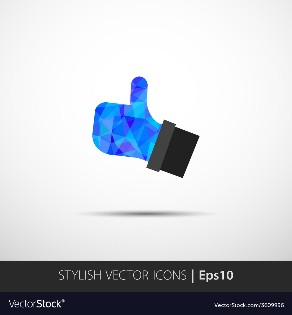 Flat style with long shadows thumbs up vector | Price: 1 Credit (USD $1)