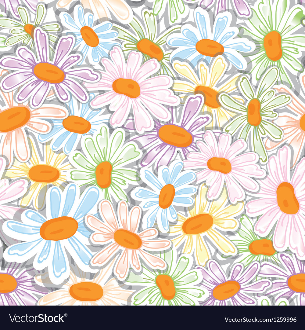 Flower camomile seamless pattern vector | Price: 1 Credit (USD $1)