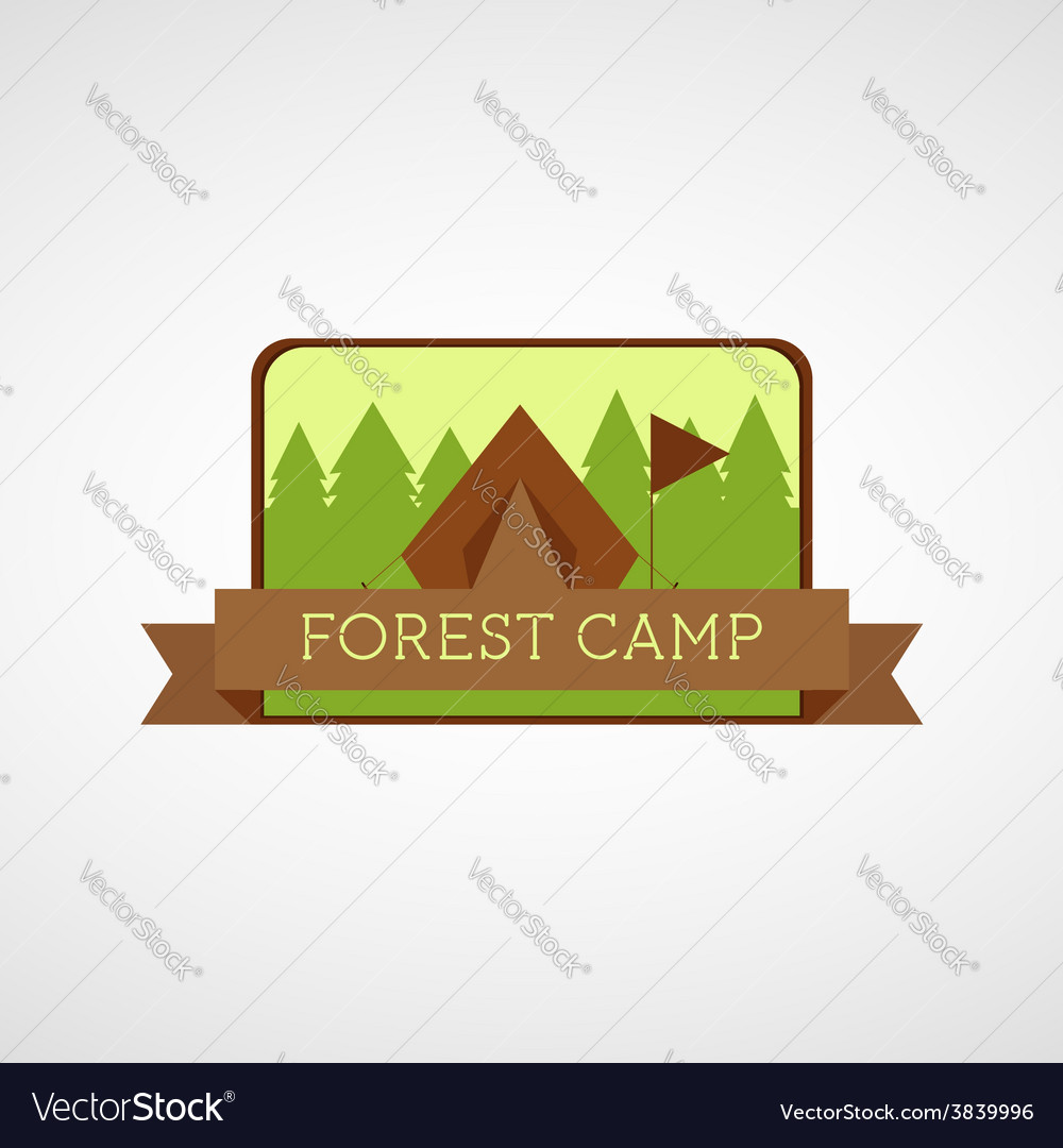 Forest camping logo wilderness adventure badge vector | Price: 1 Credit (USD $1)