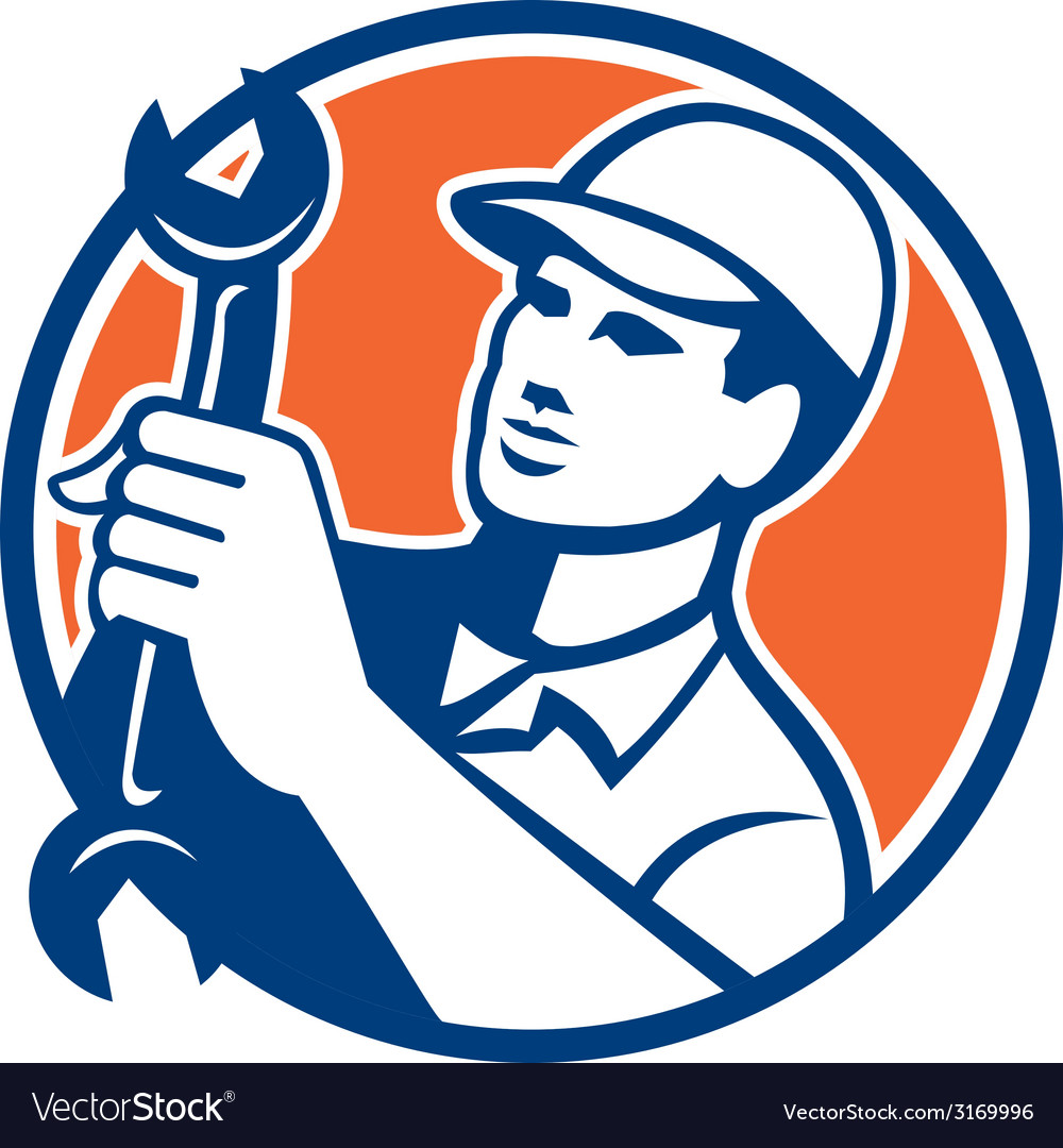 Mechanic holding spanner wrench circle retro vector | Price: 1 Credit (USD $1)