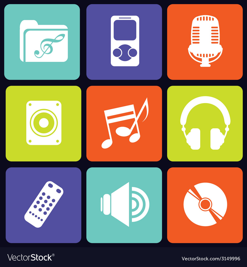 Music icons square vector | Price: 1 Credit (USD $1)