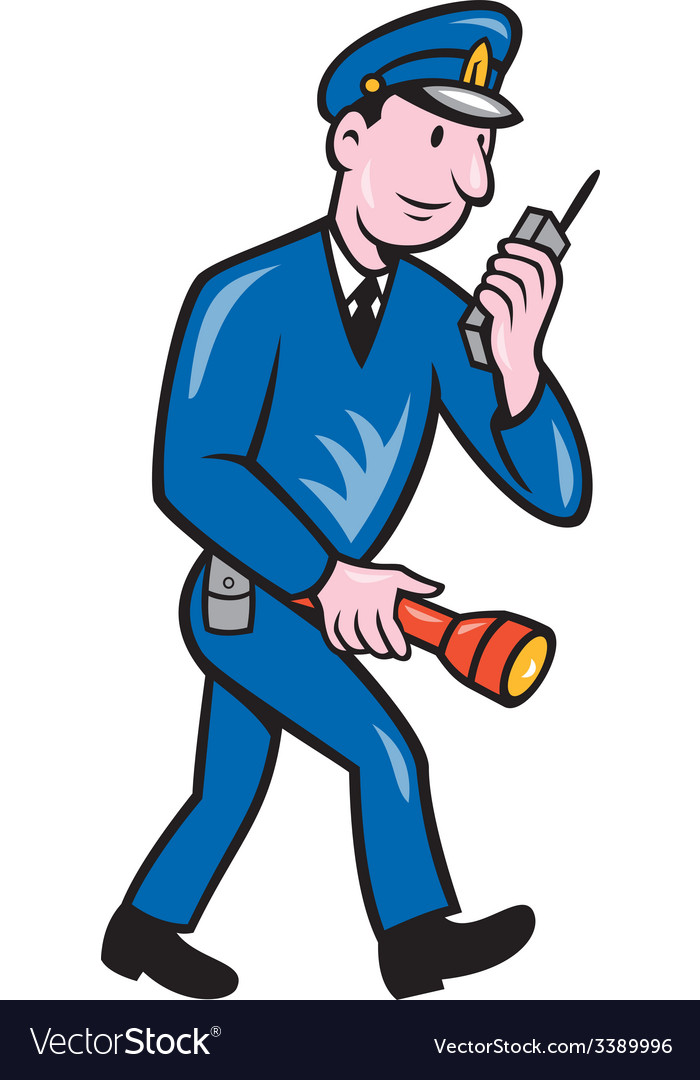 Policeman torch radio cartoon vector | Price: 1 Credit (USD $1)