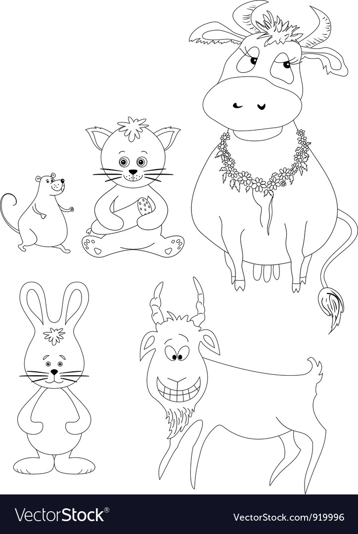 Set cartoon animals outline vector | Price: 1 Credit (USD $1)