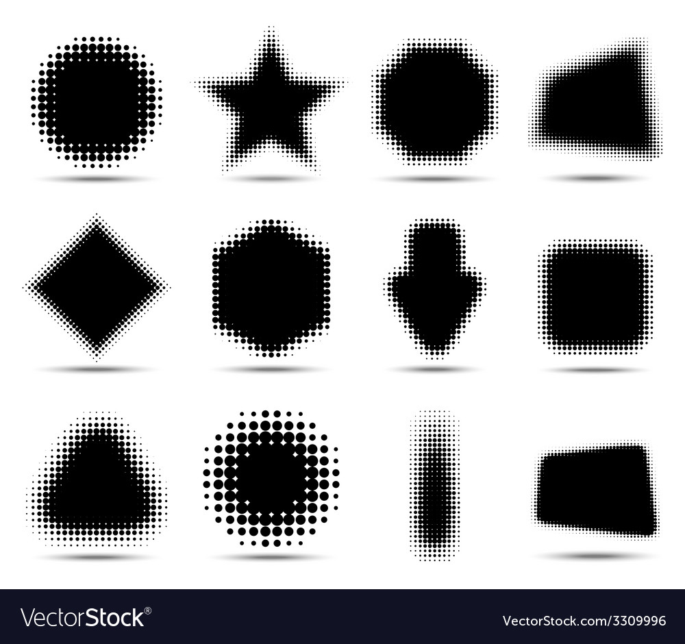 Set of 12 abstract halftone design elements vector | Price: 1 Credit (USD $1)