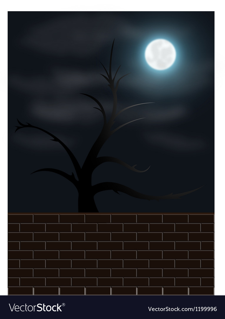 Spooky night scene vector | Price: 1 Credit (USD $1)