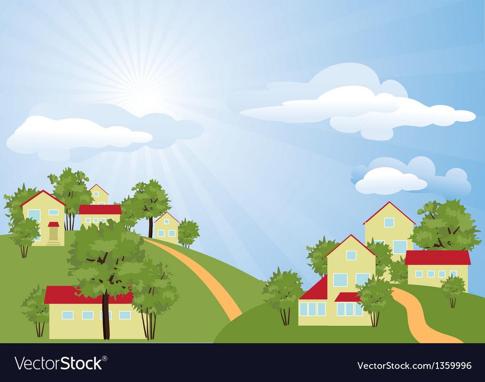 Summer rural landscape vector | Price: 1 Credit (USD $1)