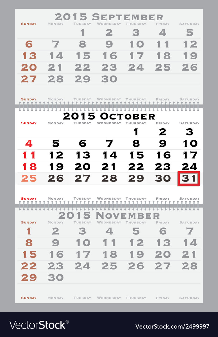 2015 october with red dating mark vector | Price: 1 Credit (USD $1)