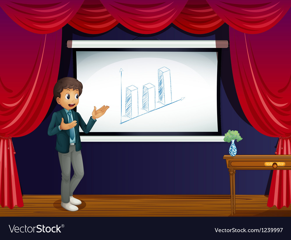 A boy with his presentation at the stage vector | Price: 1 Credit (USD $1)